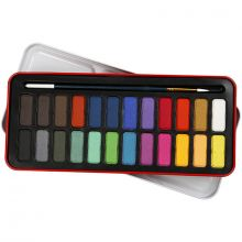 Akvarellivärit sis. siveltimen, 24 väriä