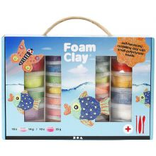 Foam Clay lahjapaketissa, 28 purkkia + työvälineet