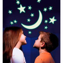 Puolikuu ja tähdet- itsevalaisevat