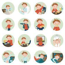 Piktogrammi tarvikkeet - Poika magneetit, 16 kpl