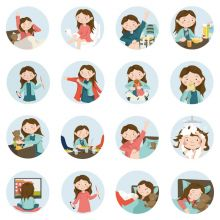 Piktogrammi tarvikkeet - Tyttö magneetit, 16 kpl
