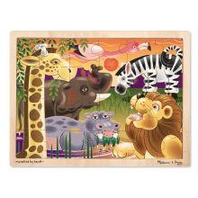 Puinen palapeli 24 palasta - Afrikan eläimet